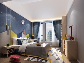 北欧卧室儿童房3D模型【ID:127754223】