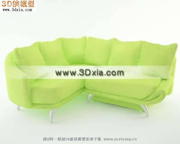 3D模型下载-很时尚的绿色多人沙发【ID:8188】