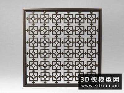 中式鐵藝雕花隔斷國外3D模型【ID:929713591】