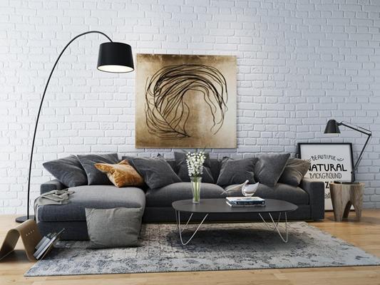 现代北欧沙发3D模型【ID:928159831】