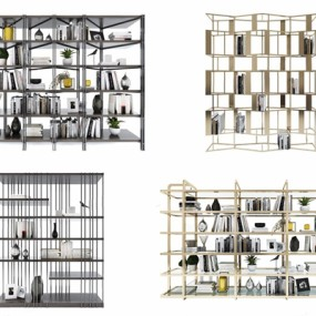 现代书架置物架组合3D模型【ID:928348537】