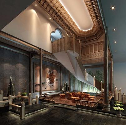 新中式茶室3D模型【ID:427985150】