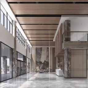 新中式办公楼大堂前台3d模型【ID:950471213】