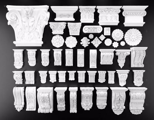 石膏鎖石羅馬柱頭組合3D模型【ID:828134451】