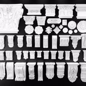 石膏锁石罗马柱头组合3D模型【ID:828134451】