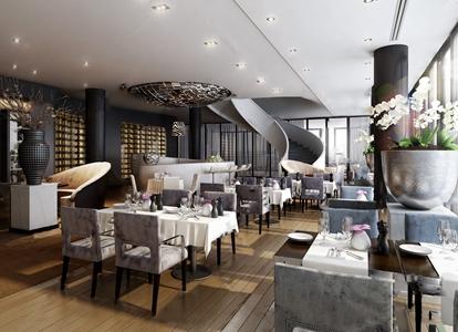 现代酒店西餐厅3D模型【ID:120800827】
