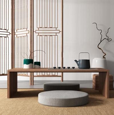 新中式屏風茶桌椅組合3D模型【ID:127851977】