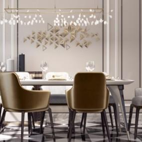 后现代餐桌椅3D模型【ID:328441425】
