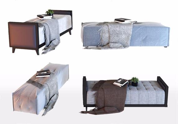 現代床尾凳組合3D模型【ID:428257619】