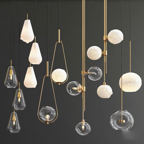 現代玻璃吊燈3D模型【ID:747290854】