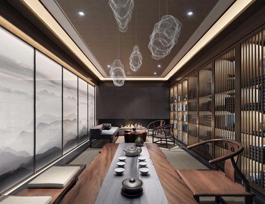 新中式茶室3D模型【ID:327918763】