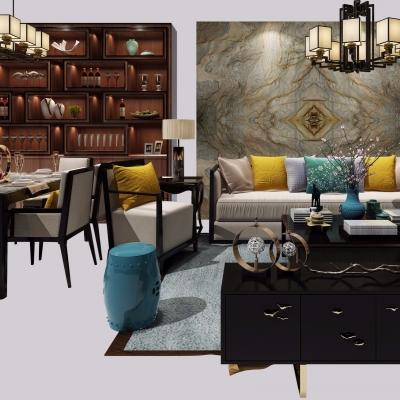 中式布藝沙發茶幾餐桌椅吊燈酒柜組合3D模型【ID:127768077】