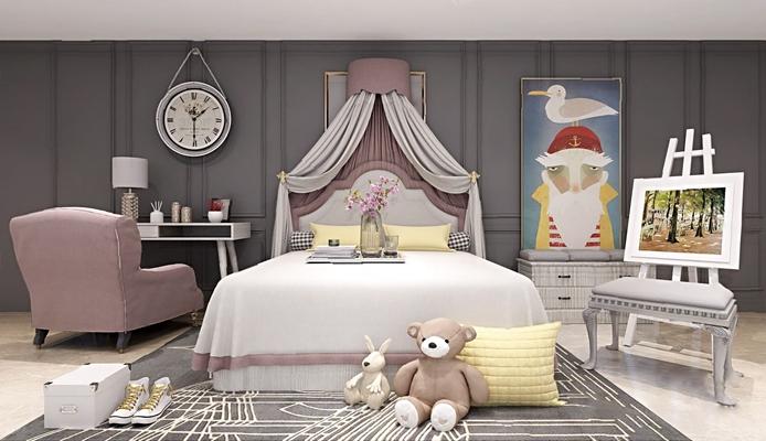 現代兒童床3D模型【ID:726230182】