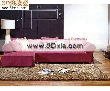 时尚的红色怪骄傲沙发3D模型【ID:8238】