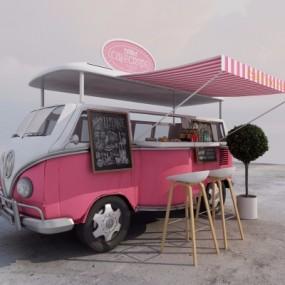 现代户外甜品外卖车3D模型【ID:327792169】