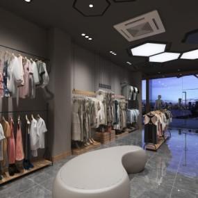 现代混搭服装店3D模型【ID:528454429】