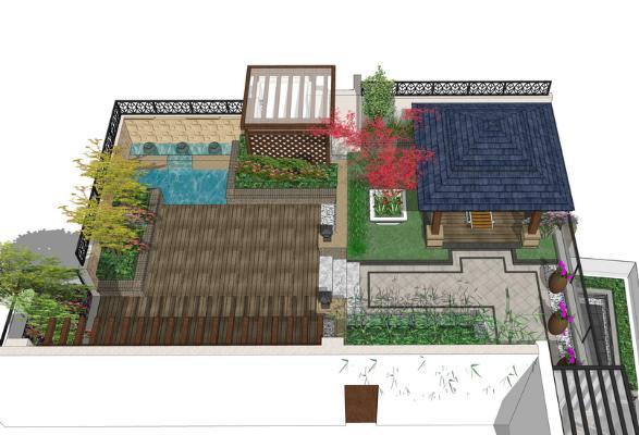 現代庭院景觀SU模型【ID:550741925】