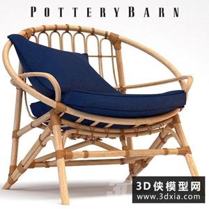 現代藤椅國外3D模型【ID:729308803】
