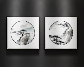 新中式裝飾畫3D模型【ID:127757013】