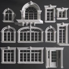 欧室窗户门组合3D模型【ID:728082646】