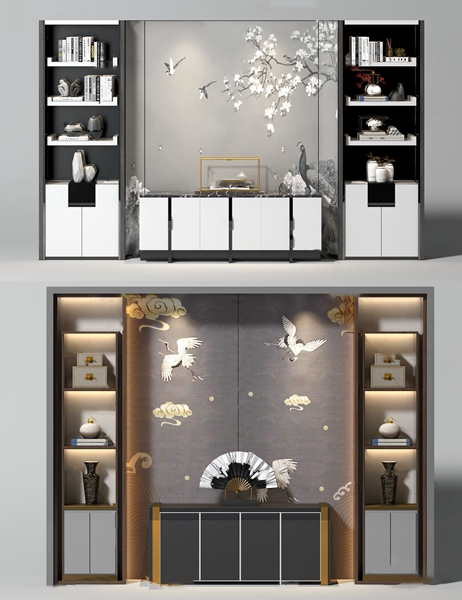 新中式邊柜書柜背景墻3D模型【ID:146658052】