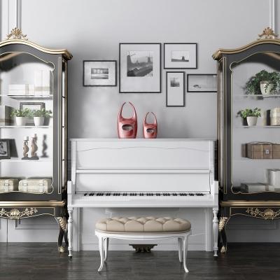 歐式鋼琴裝飾柜組合3D模型【ID:927836219】