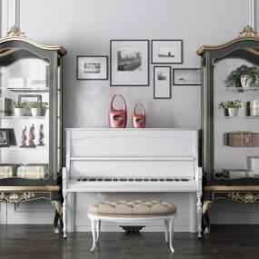 欧式钢琴装饰柜组合3D模型【ID:927836219】