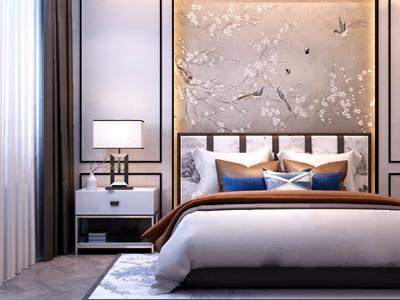 新中式双人床床具卧室3D模型【ID:720816058】