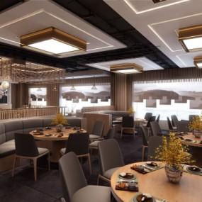 现代轻奢中餐厅3D模型【ID:328440404】