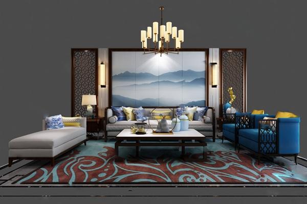 新中式沙发茶几组合3D模型【ID:624893016】