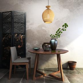 新中式圆形桌椅屏风组合3D模型【ID:327784659】