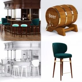 美式实木吧台吧椅酒桶3D模型【ID:628458394】