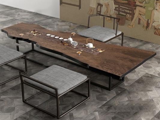 新中式茶桌椅組合3D模型【ID:628047088】