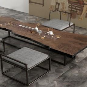 新中式茶桌椅组合3D模型【ID:628047088】