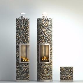 自然风石头壁炉摆件组合3D模型【ID:827815146】