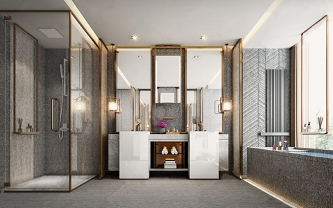 现代轻奢卫生间 现代卫浴 卫生间 洗手台 淋浴间 浴缸 单头吊灯