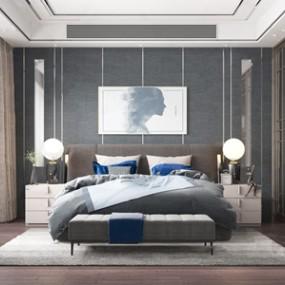 现代轻奢卧室 3D模型【ID:541547292】