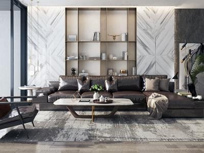 现代皮革转角沙发组合3D模型【ID:131389089】