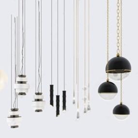 现代吊灯灯具组合3d模型【ID:520819814】