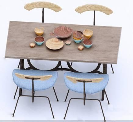 北欧餐桌椅组合3D模型下载【ID:319453466】