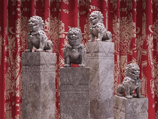 现代中式精品石狮子雕像陈设摆件3D模型【ID:327900879】