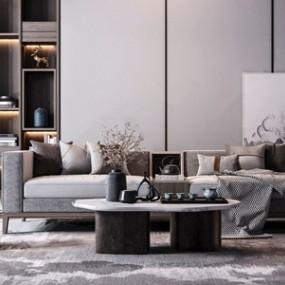新中式沙发茶几摆件组合3D模型【ID:636238723】