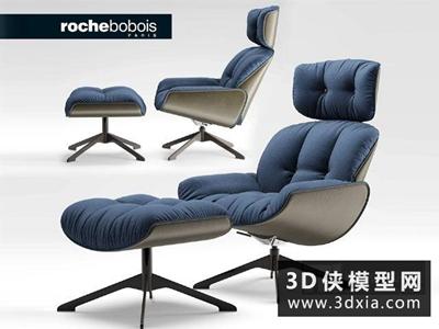 现代休闲椅国外3D模型【ID:729623846】