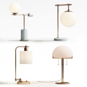 现代金属台灯组合3D模型【ID:627806104】