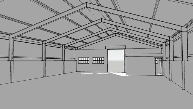 鋼框架倉庫工業廠房SU模型【ID:838329066】