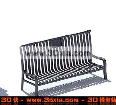 3D简单的公共椅模型下载3D模型【ID:845】