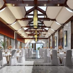 新中式宴会厅3D模型【ID:427957400】