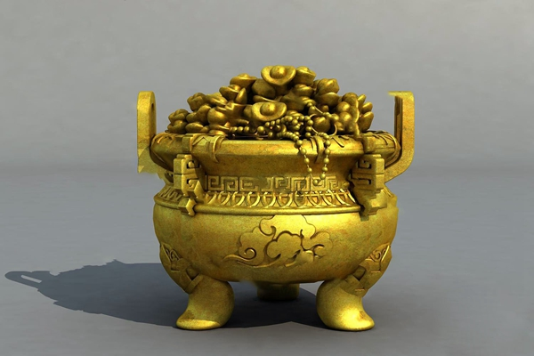 中式聚宝盆3D模型【ID:620616039】