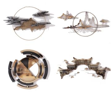 新中式金屬墻飾3D模型【ID:420795964】