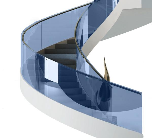 現代玻璃旋轉樓梯3D模型【ID:347088564】